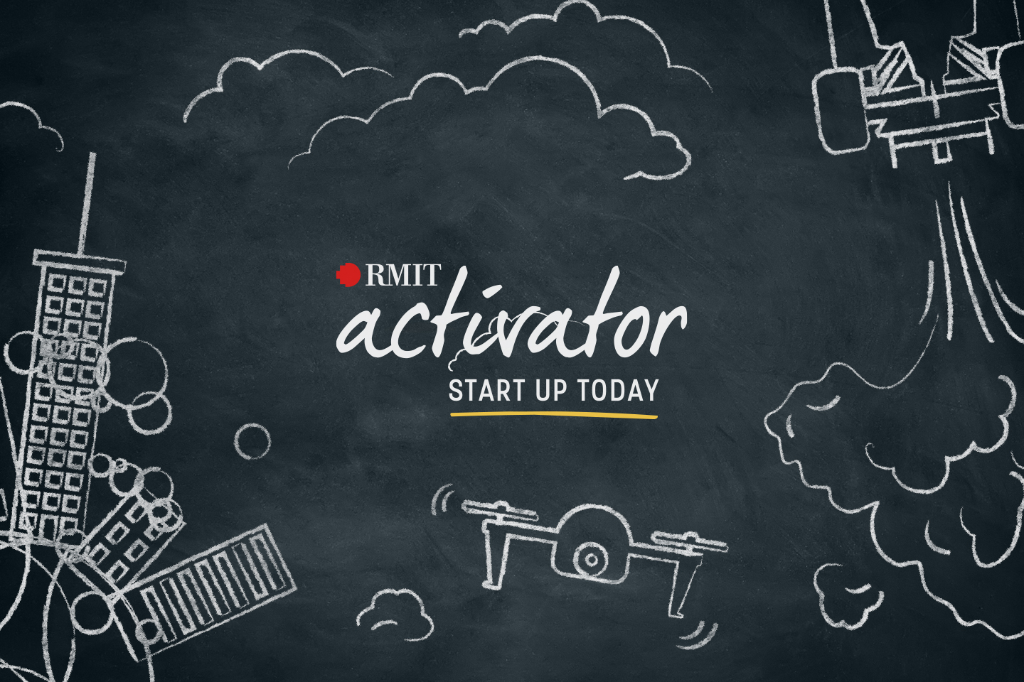 Blackboard with chalk sketches and the text: RMIT Activator - START UP TODAY