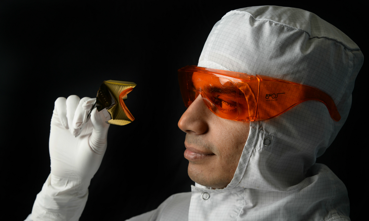 Sharath Sriram inspects an optical chip