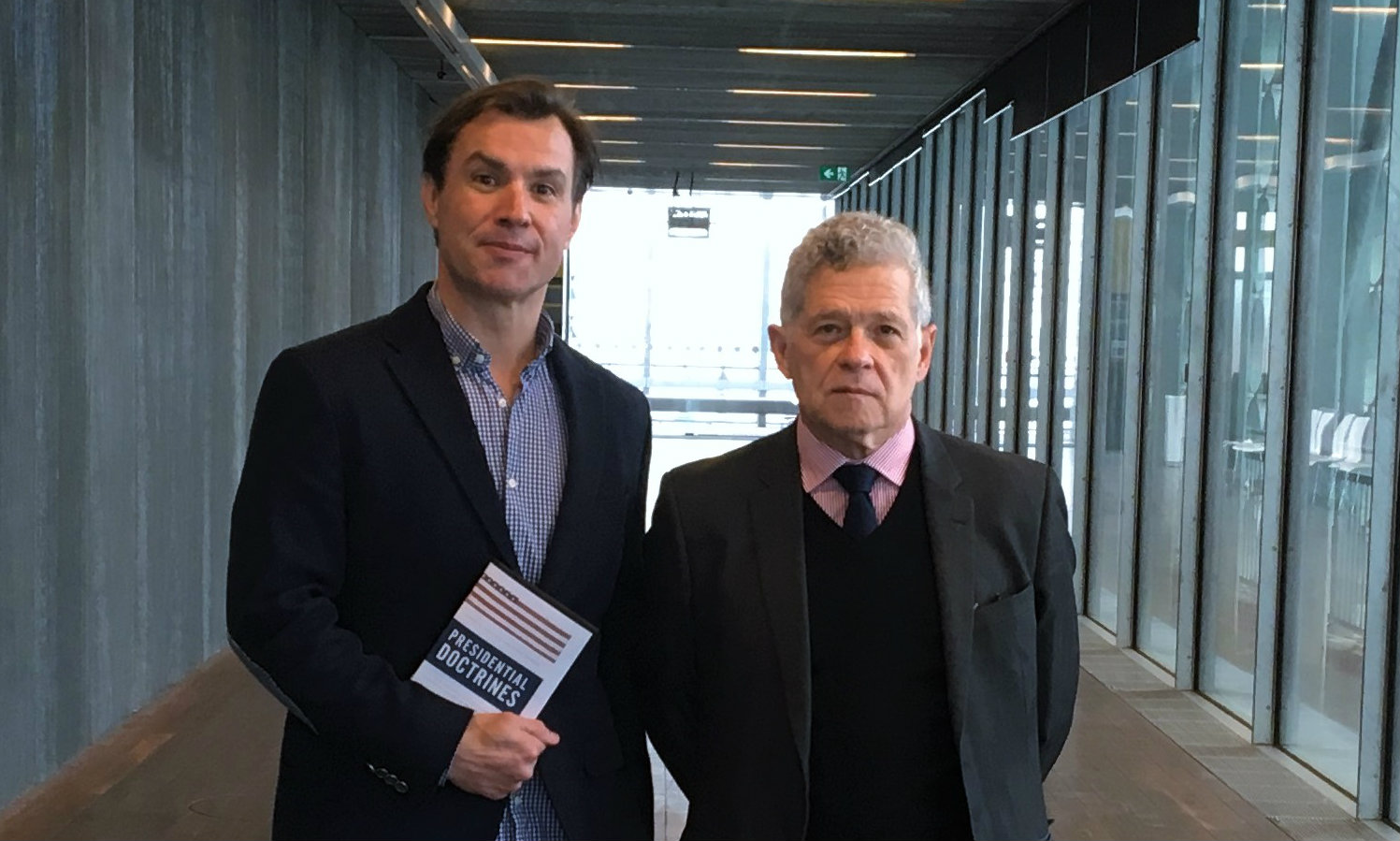 Dr Aiden Warren and Professor Joseph Siracusa with their newly released publication Presidential Doctrines: U.S. National Security from George Washington to Barack Obama