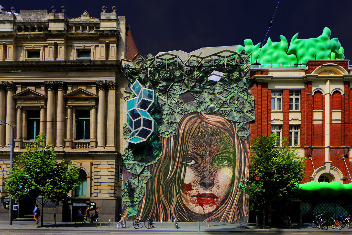 """What big teeth you have"", Storey Hall projection by RMIT alumnus and lecturer Jazmina Cinina."