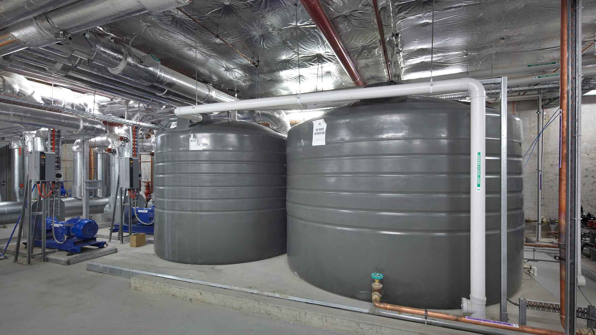 Two grey water tanks