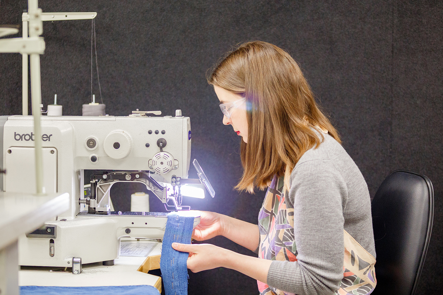 Julia sewing in RMIT Fashion and Textiles facilities