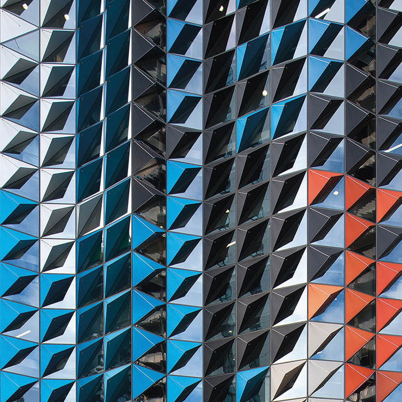 Geometric textured building