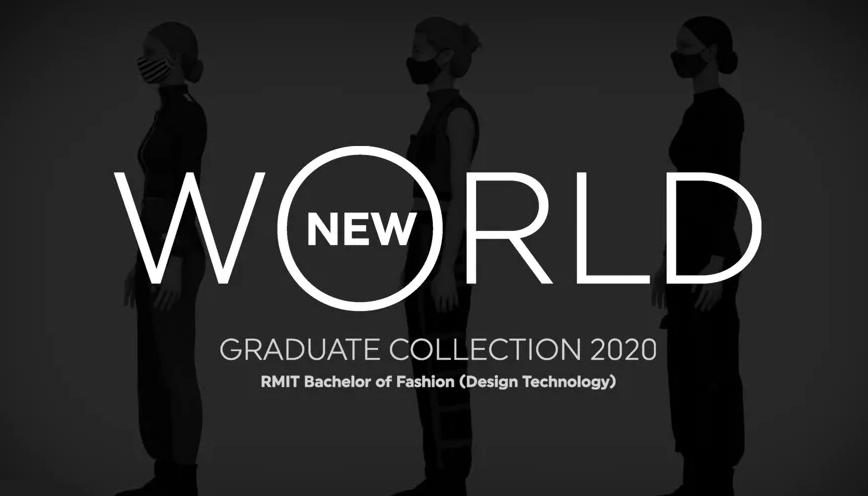 "Silhouette of three models with overlay of text ""New World, Graduate Collection 2020, RMIT Bachelor of Fashion (Design Technology)"""