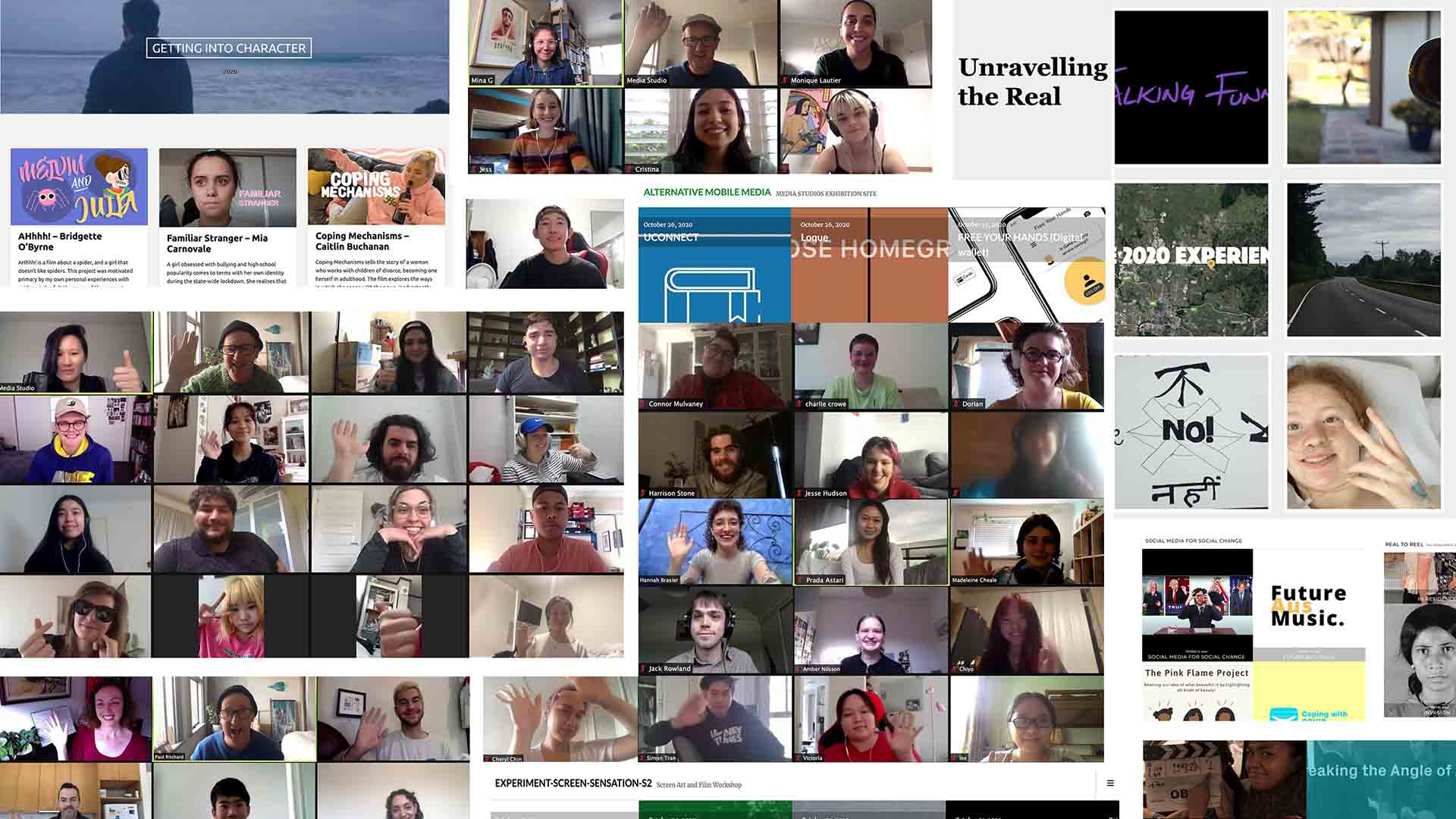 Collage of people's webcam screenshots and media project images