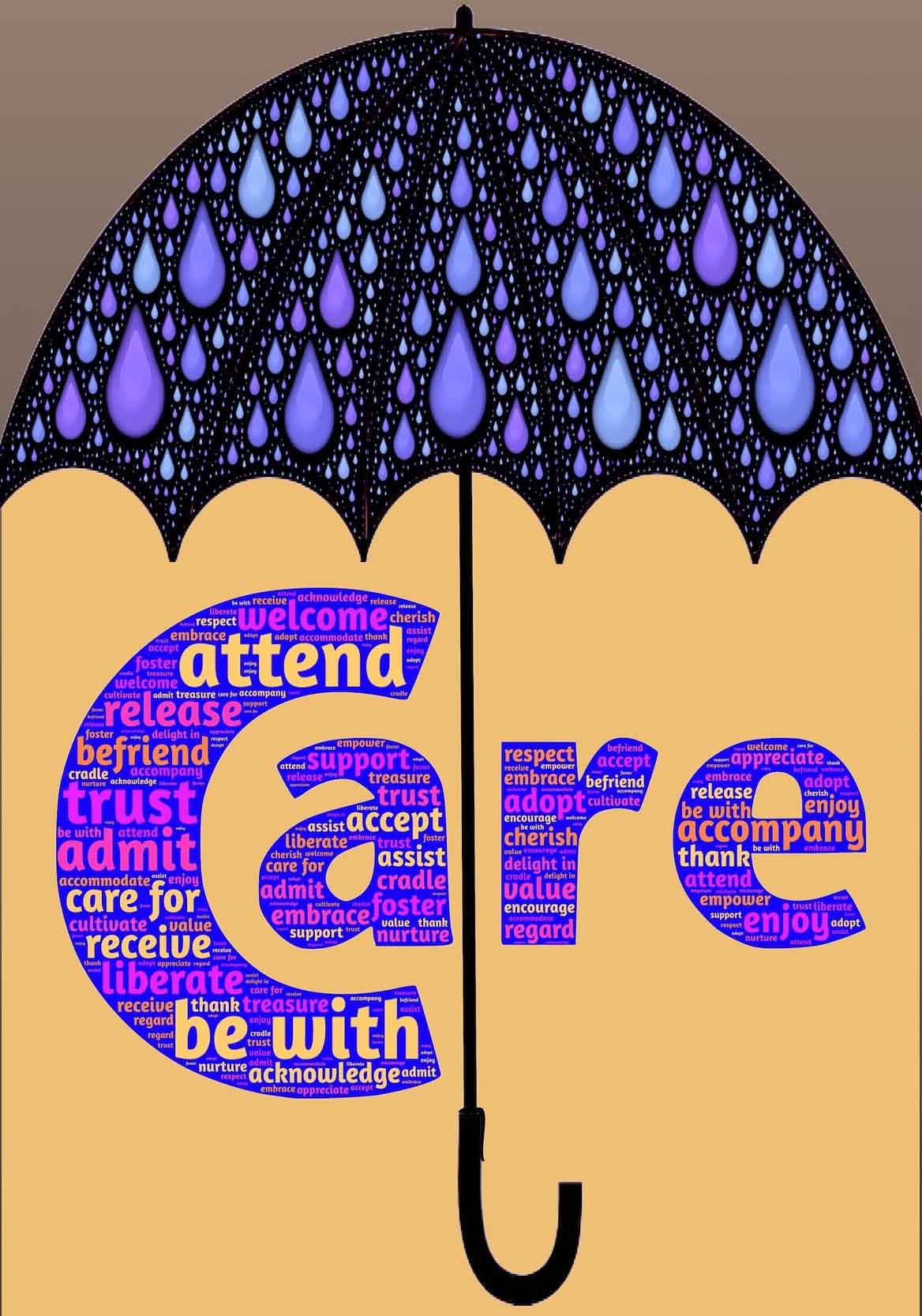 Illustration of umbrella over the word 'Care'