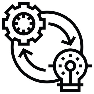 black and white icon graphic with a lightbulb and turning wheel