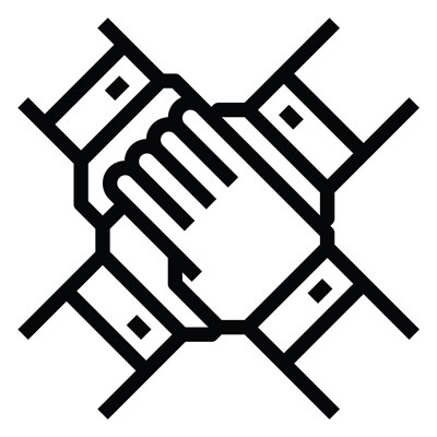 black and white icon graphic showing four hands placed on top of one another