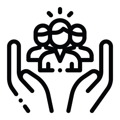 black and white icon graphic with hands opening up to three people