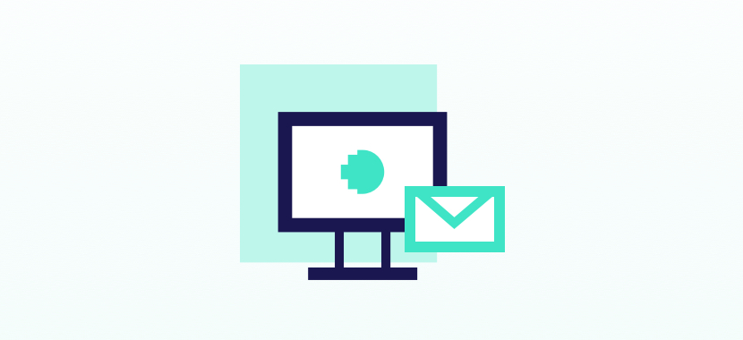 Digital illustration of a email and computer.