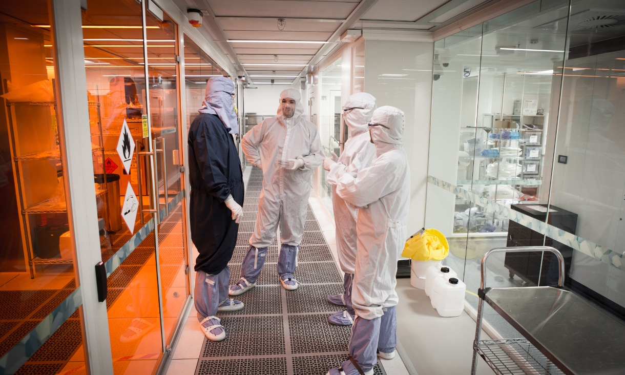 Scientists and engineers in the Micro Nano Research Facility.