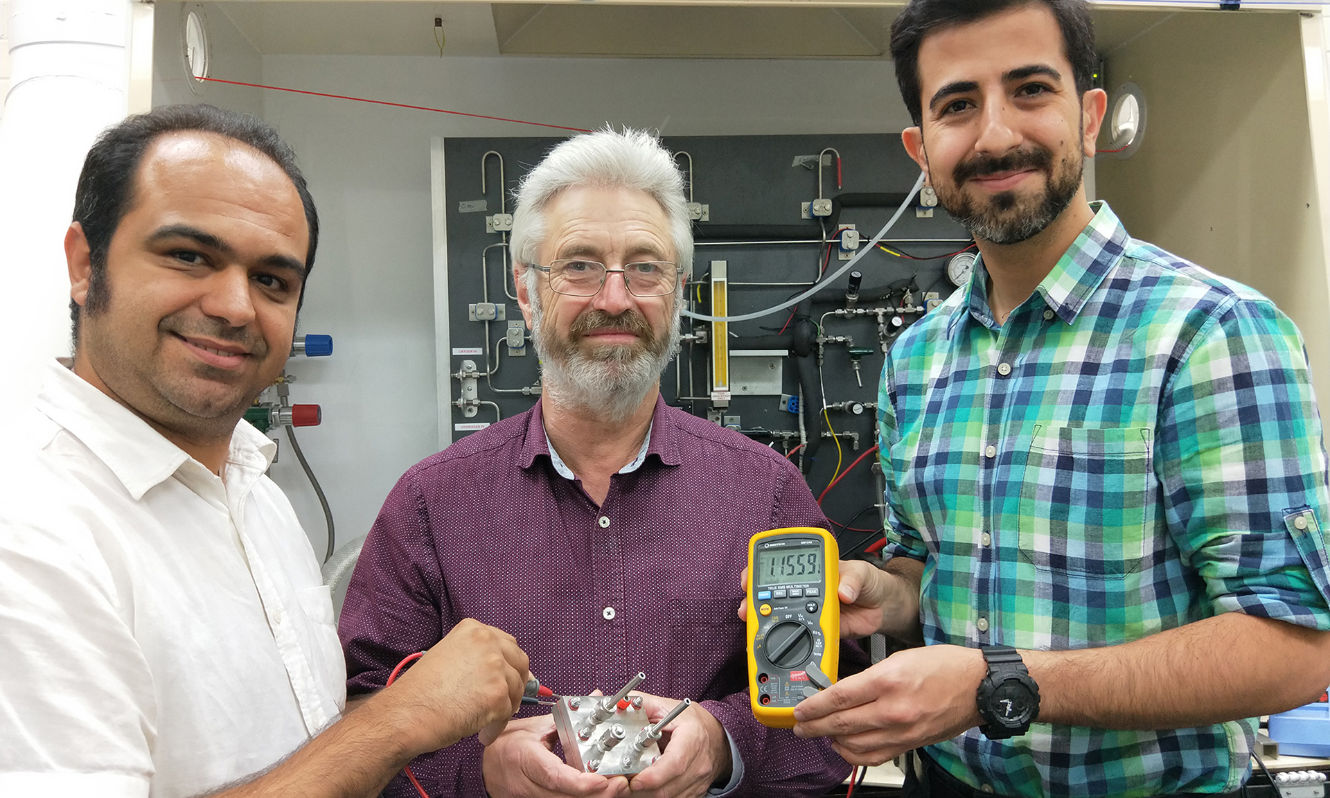 Professor John Andrews (centre) with the RMIT team that conducted the latest proton battery experiments: Dr Shahin Heidari (left) and Saeed Seif Mohammadi (PhD researcher, right). Not pictured: Dr Amandeep Singh Oberoi (now at Thapar University Patiala, India).