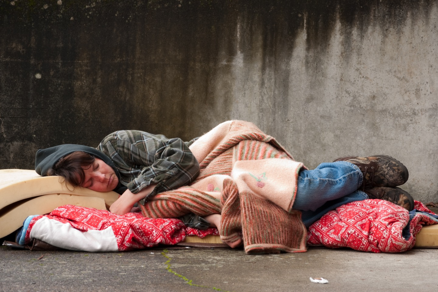 Sleeping on a street