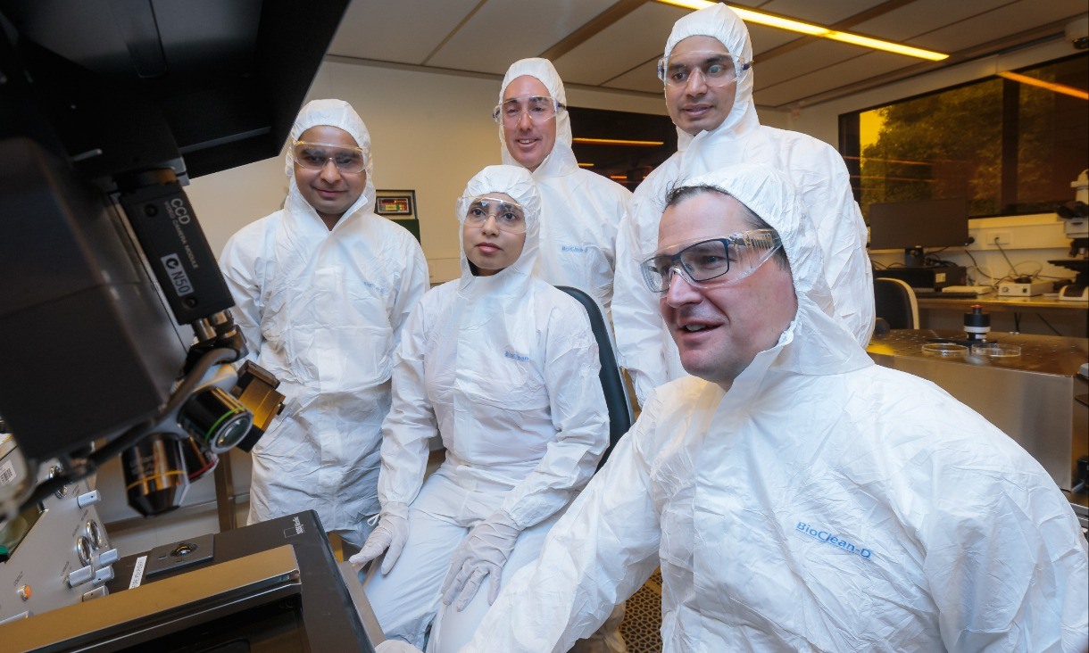Associate Professor Madhu Bhaskaran (centre) and Senator Zed Seselja (right) with researchers and project partners at the Micro Nano Research Facility. Photo: Mark Dadswell, Sleeptite