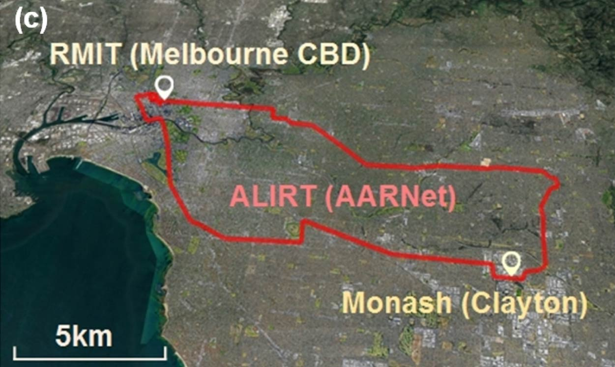 Image shows area marked up on a map between Melbourne CBD and Clayton