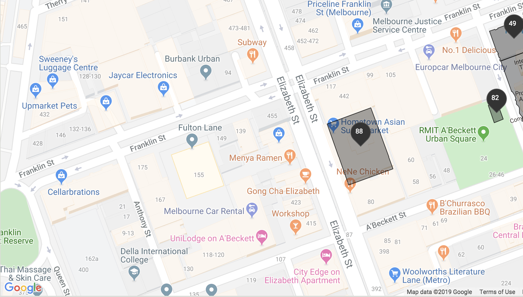Map of RMIT building 88 location
