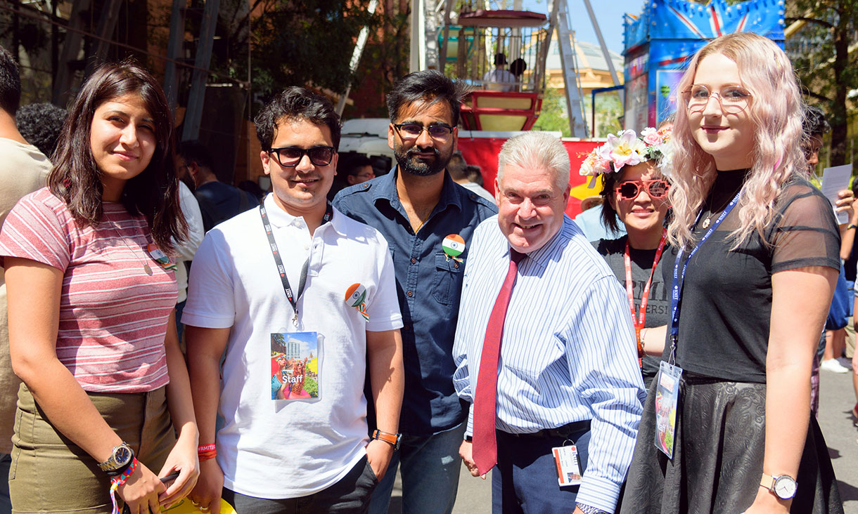 Group of students with RMIT Vice Chancellor, Martin Bean