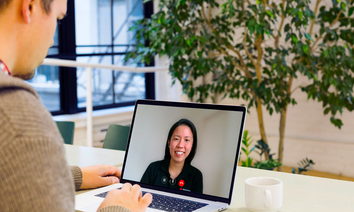 Student in a video call with RMIT staff member