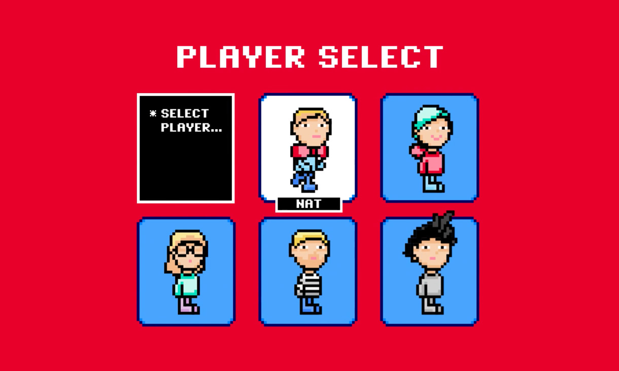 Player select screen of an 8-bit computer game with the character Nat selected