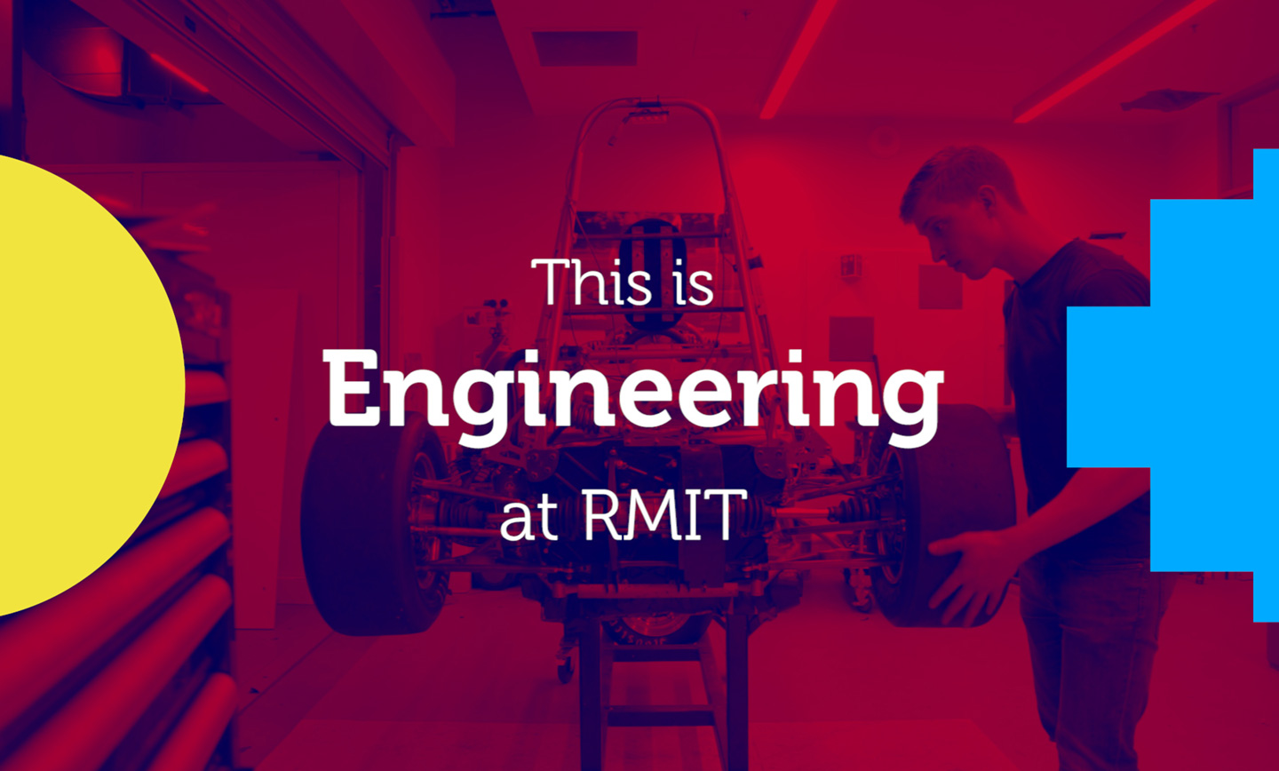 The words This is Engineering at RMIT over red background