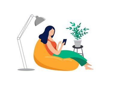 illustration of woman relaxing