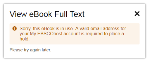 a message displays e-book in use