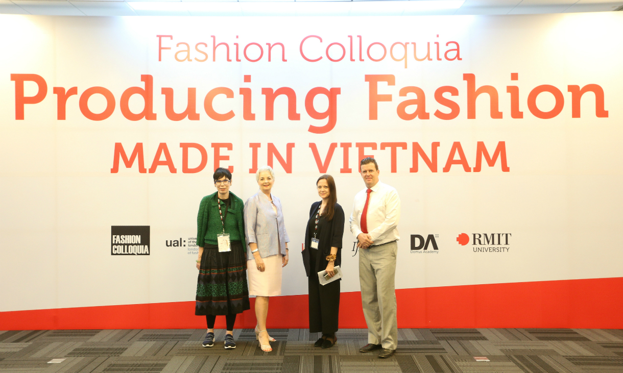 Professor Robyn Healy, RMIT Vietnam President Professor Gael McDonald, Head of the Fashion Department Victoria Ho, and Head of Centre of Communication and Design Professor Rick Bennett at the start of the Fashion Colloquia in HCMC.
