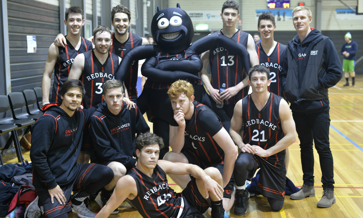 "men's basketball team with spider ""redback"" mascot"