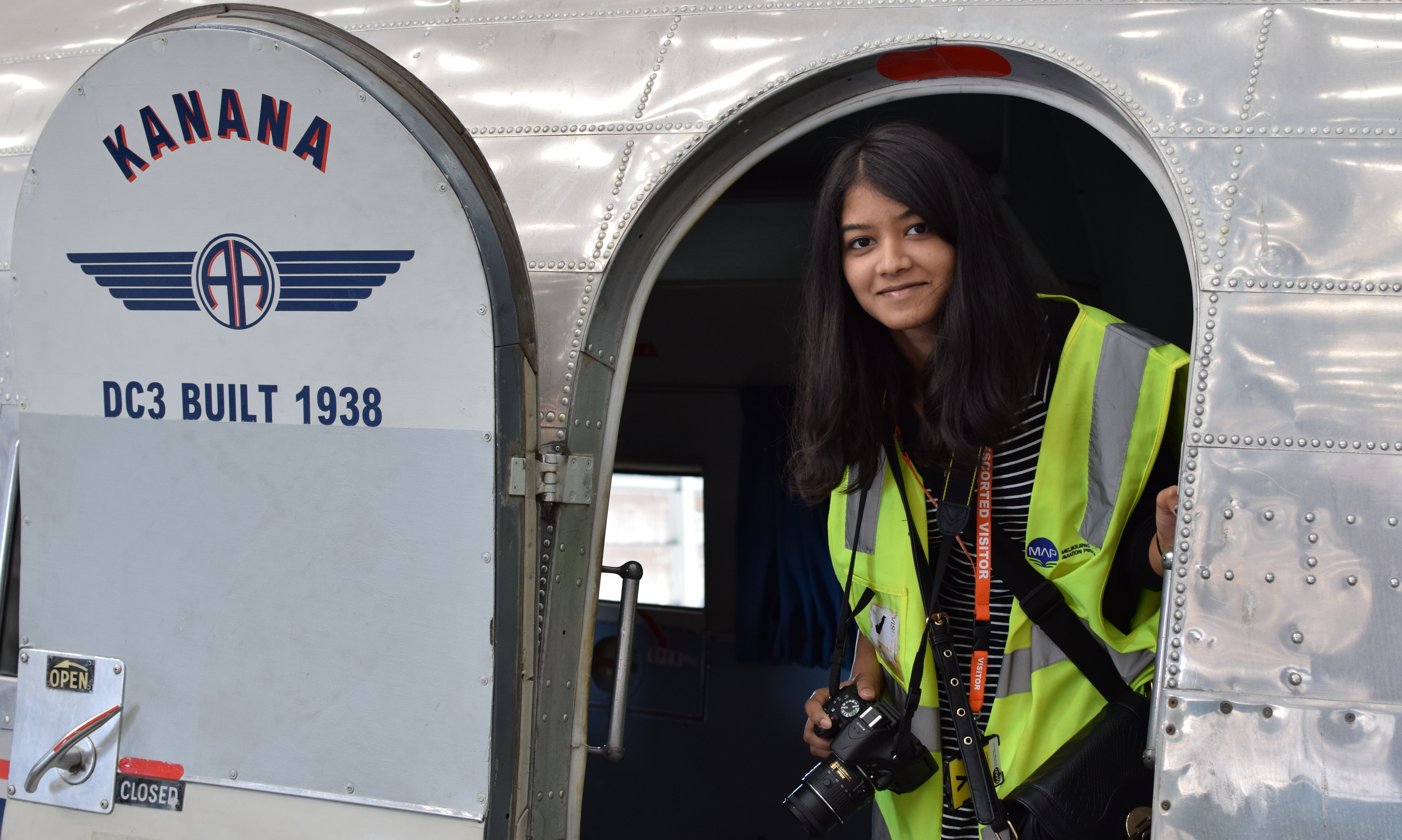 Student Neeshma Sadanandhan visiting Kanana at Melbourne Aviation Precinct.