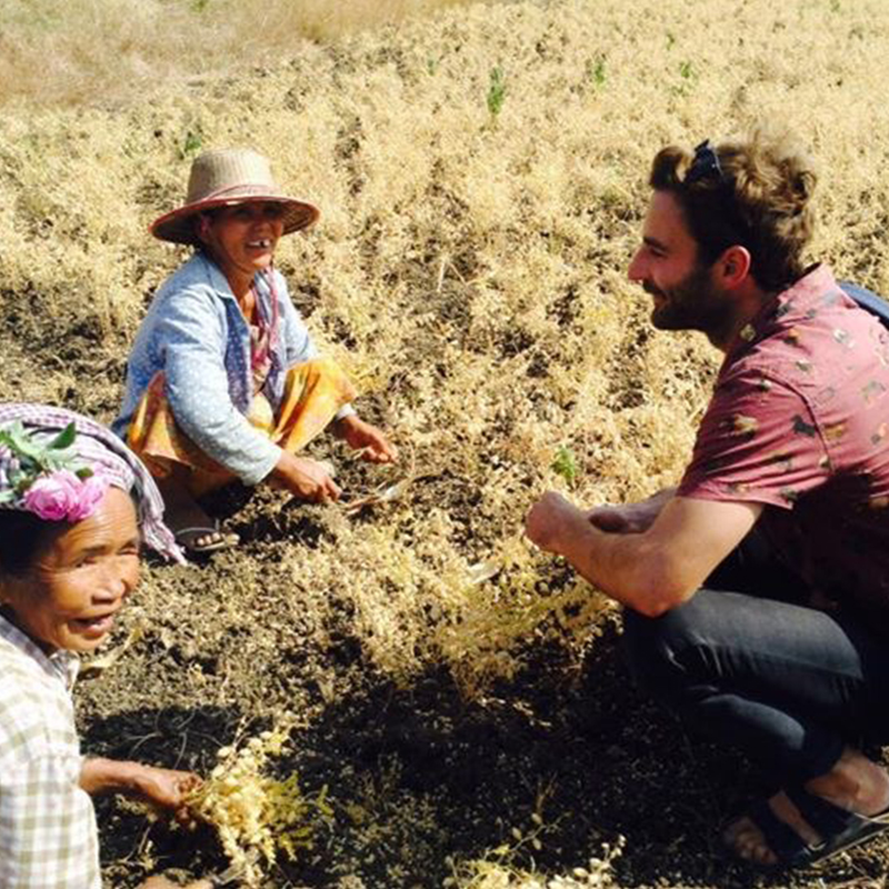 RMIT student, Zac, talks to locals in a field in Myanmar