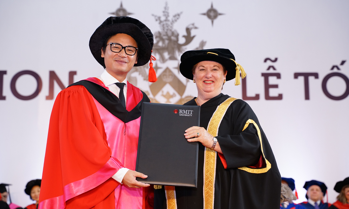 Vietnamese–Australian celebrity chef and restaurateur Luke Nguyen (left) was awarded an RMIT Honorary Doctorate for his distinguished culinary contributions to the wider community.