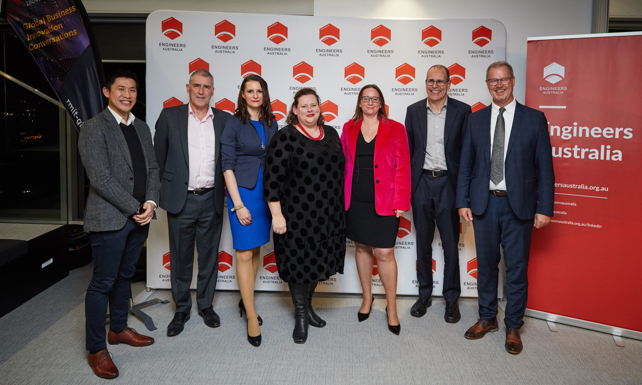 L-R: Bernard Lee, Peter Carney, Justyna Dabrowska, Kelly Hutchinson, Anne Laure-Mention, Director Global Business Innovation, RMIT, Matthew Young and Hannes Erler.