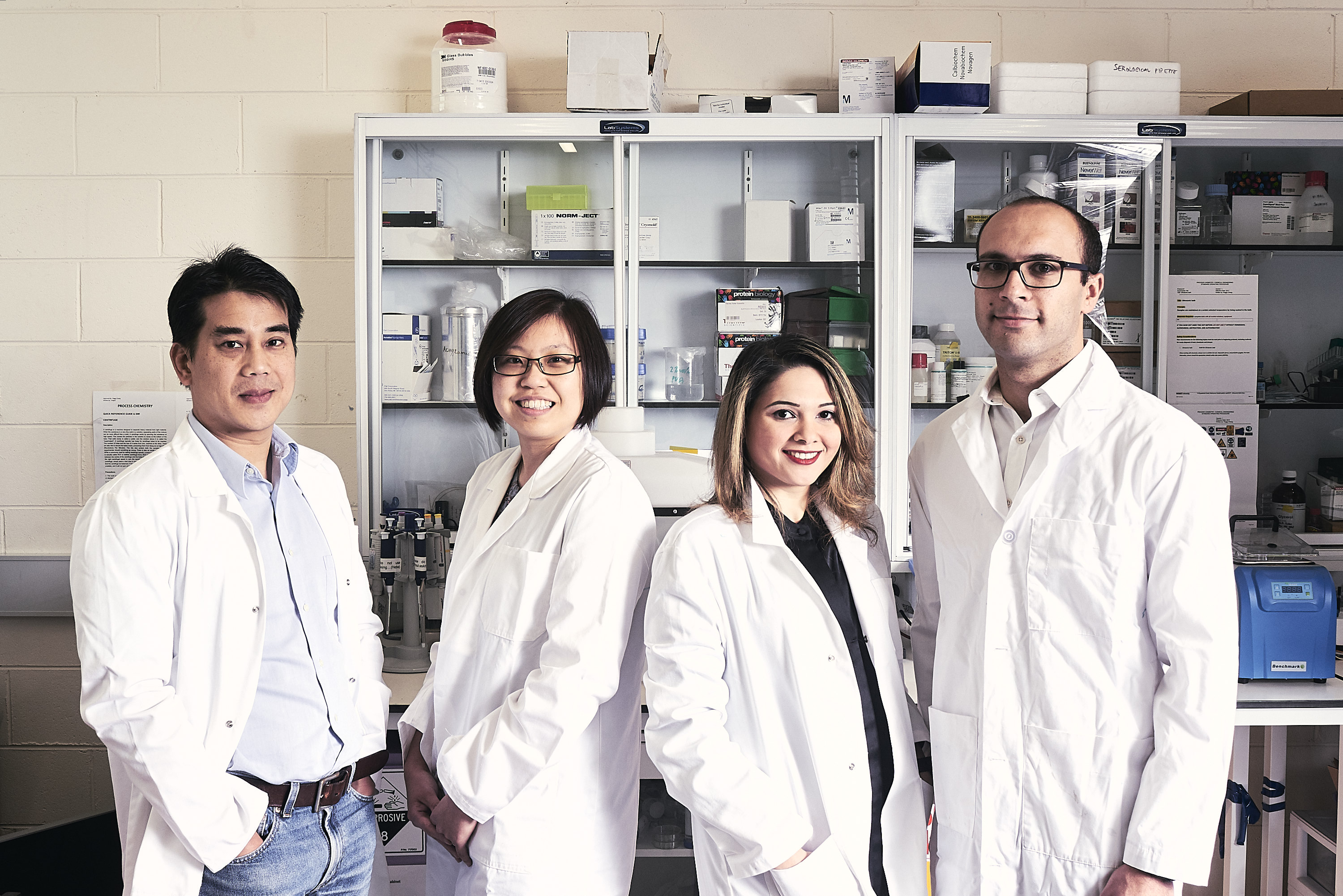 The team behind the research: Distinguished Professor Leslie Yeo, Lillian Lee, Dr Heba Ahmed, Dr Amgad Rezk.
