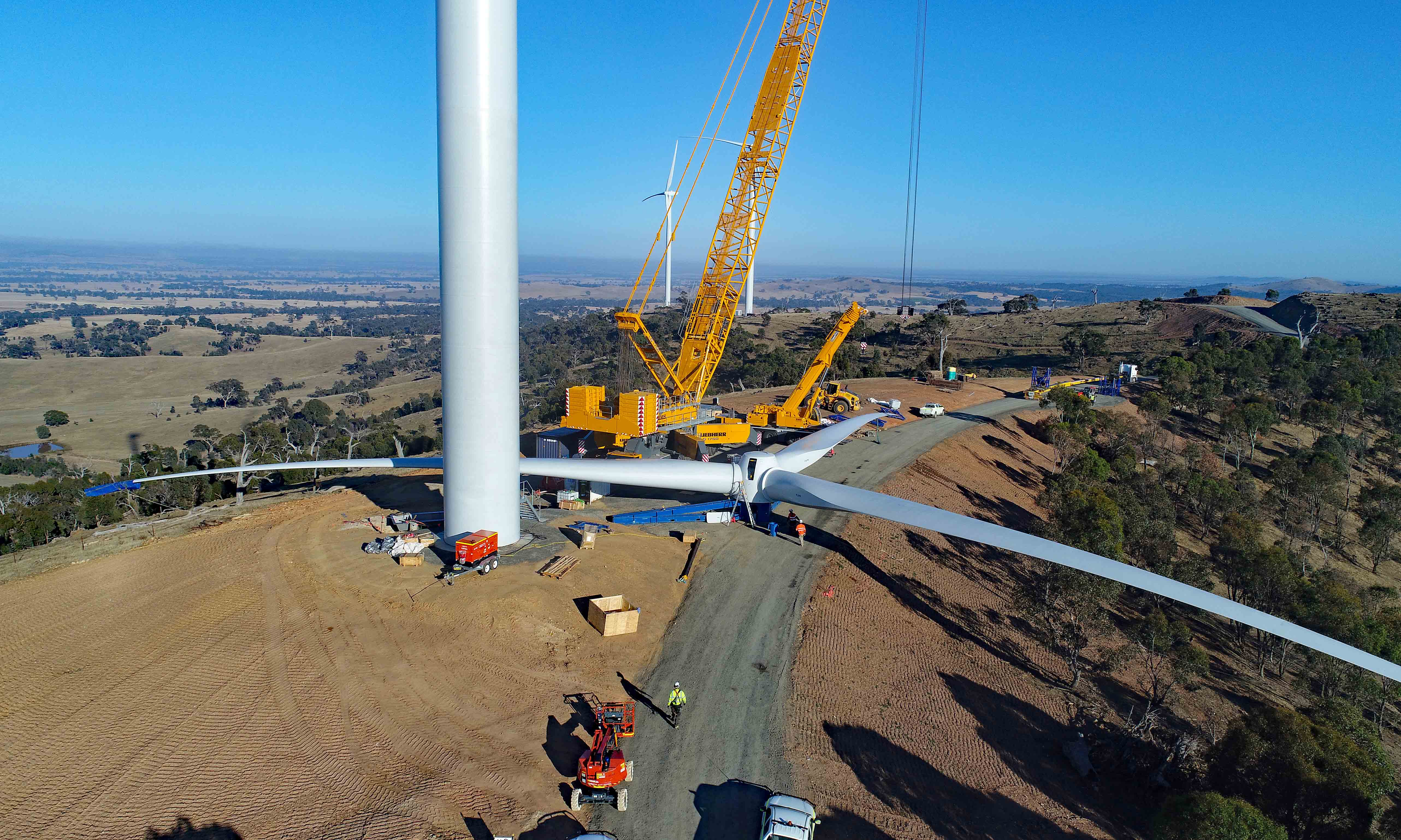 The Crowlands wind farm under construction during the first Melbourne Renewable Energy Project. Credit: Pacific Hydro