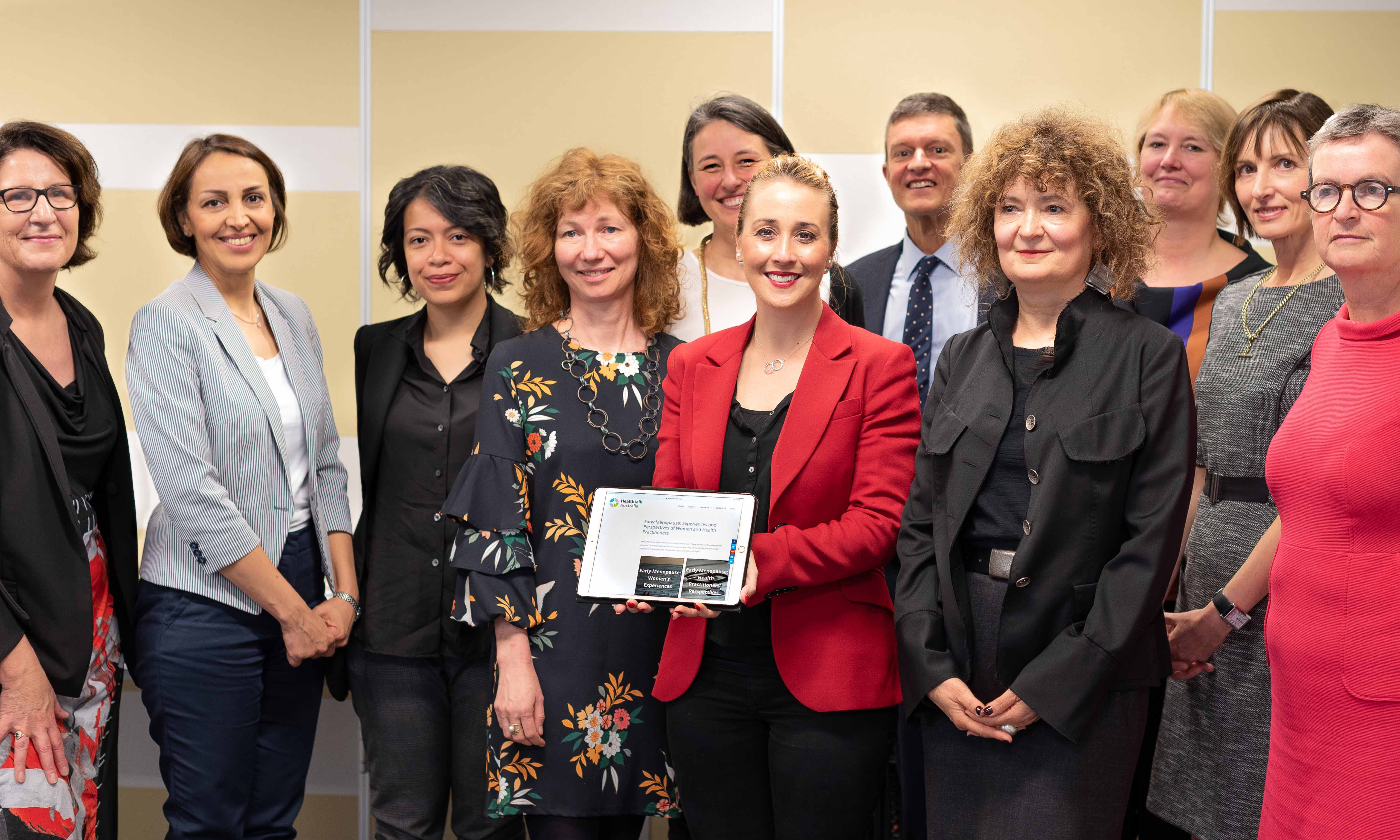 Research team with the Hon. Gabrielle Williams, Minister for Women at the launch of Healthtalk Australia's Early Menopause Digital Resource
