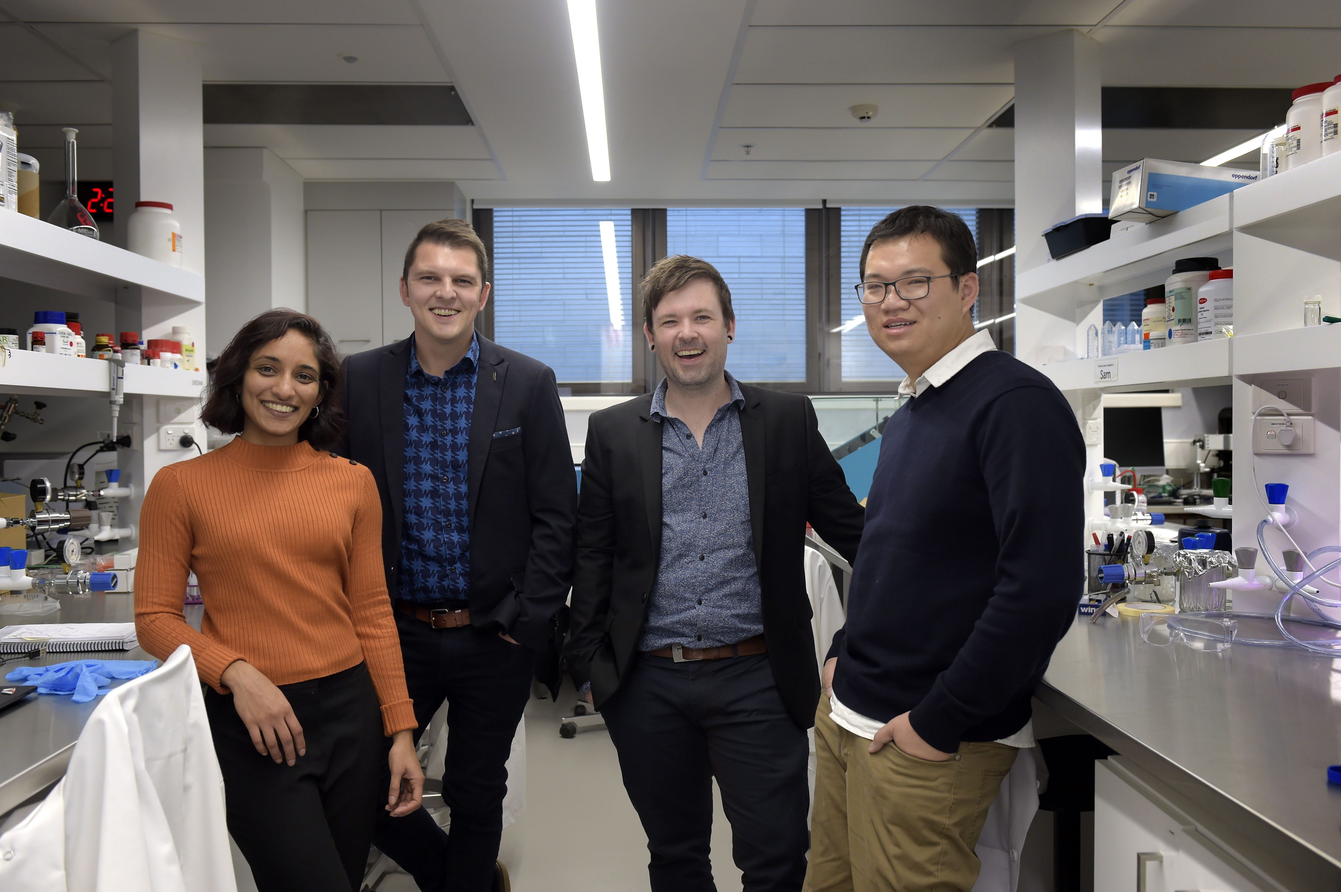(L-R) PhD researcher Sheeana Gangadoo, Dr James Chapman, Dr Aaron Elbourne and Dr Vi Khanh Truong.