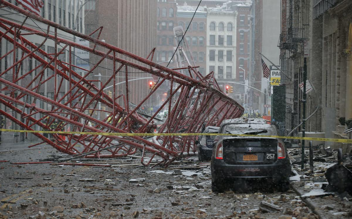 This crane collapse killed one person and seriously injured two others in central Manhattan in 2016. Brendan McDermid/Reuters/AAP