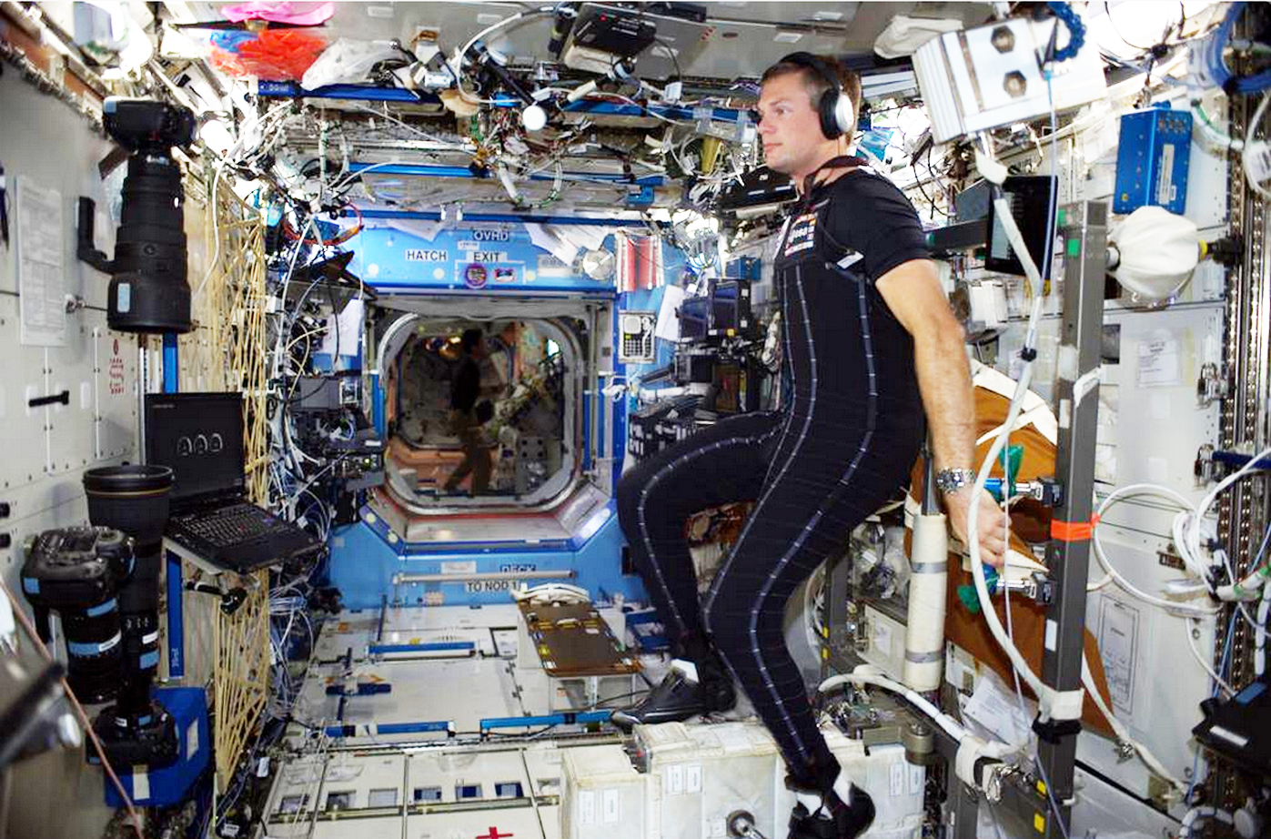 Denmark's first astronaut, Andreas Mogensen, trials an earlier version of the skinsuit on the ISS in 2015 to test its effectiveness in the weightless conditions.