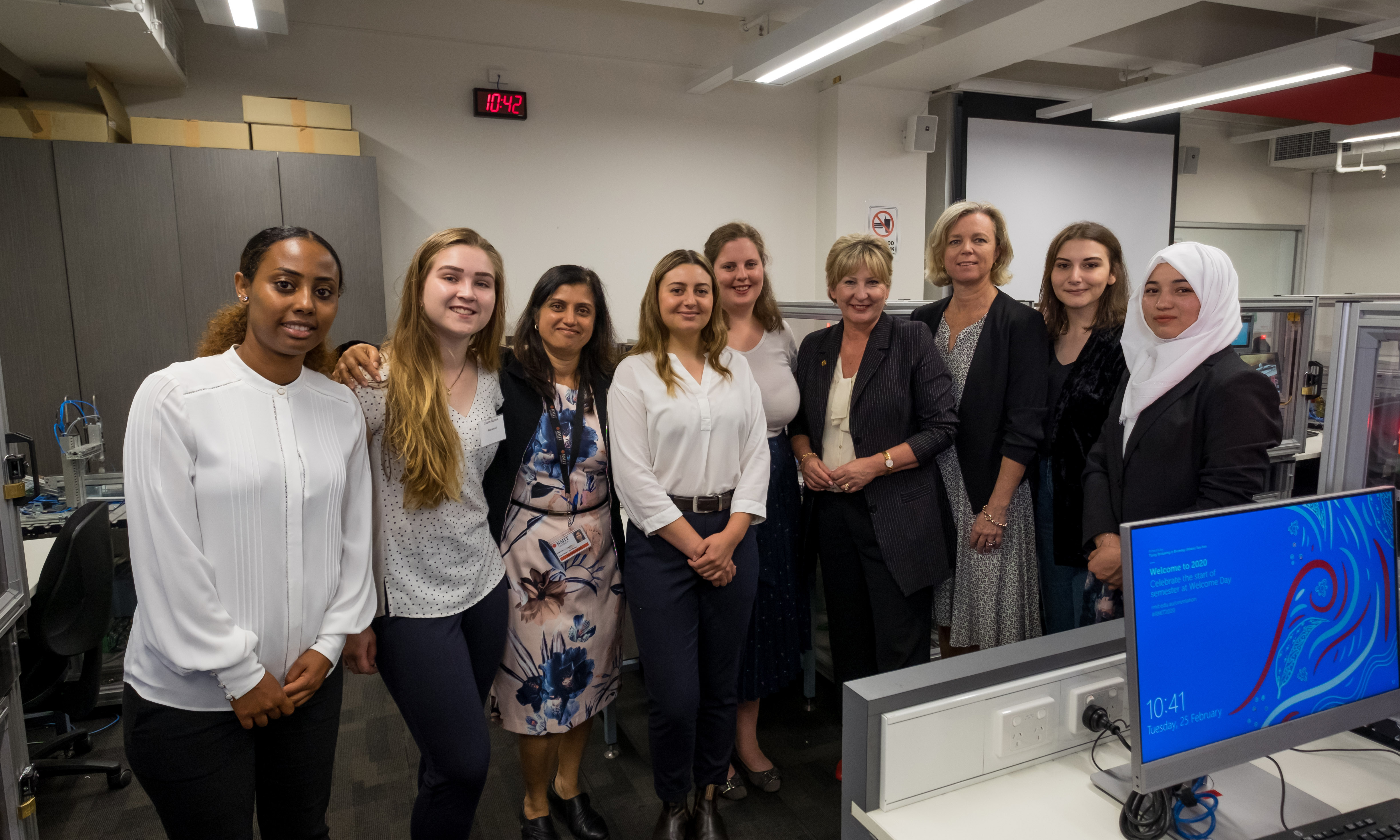 Minister Tierney with students and staff involved in the Women in STEM VE project at RMIT