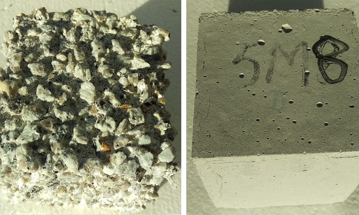 Highly corroded ordinary Portland cement concrete compared to zero cement concrete.
