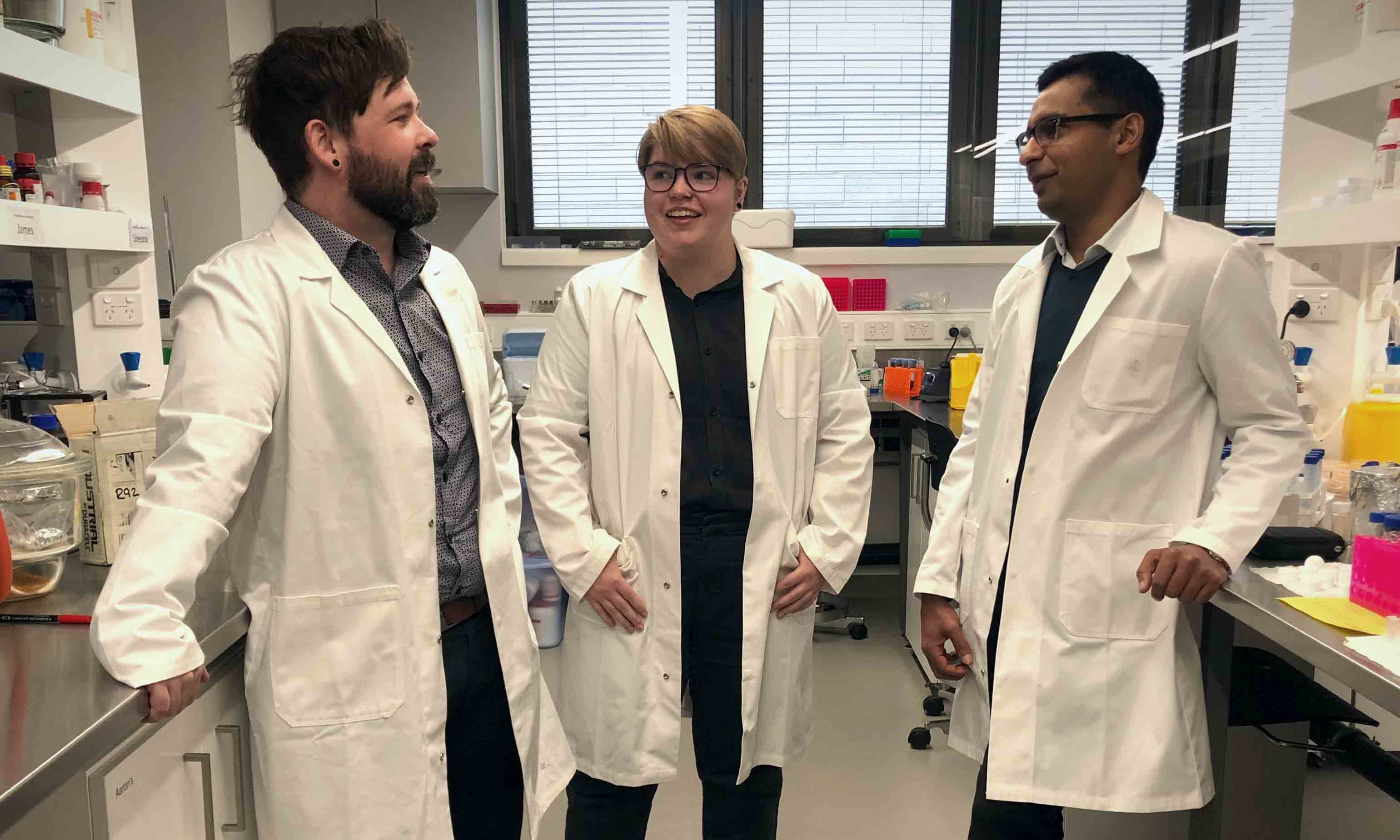 Dr Aaron Elbourne, PhD researcher Zo Shaw and Associate Professor Sumeet Walia.