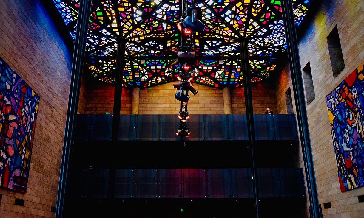 The stained glass ceiling at the NGV.