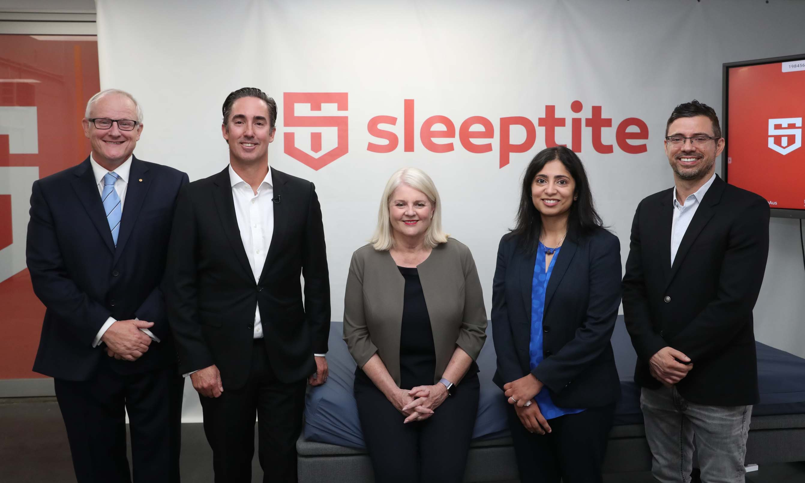 RMIT Deputy Vice-Chancellor Research and Innovation and Vice-President, Professor Calum Drummond, Sleeptite CEO Cameron van den Dungen, Federal Minister for Industry, Science and Technology, Karen Andrews, lead researcher Professor Madhu Bhaskaran and Bill Mantzis, Managing Director Sleepeezee Bedding Australia.