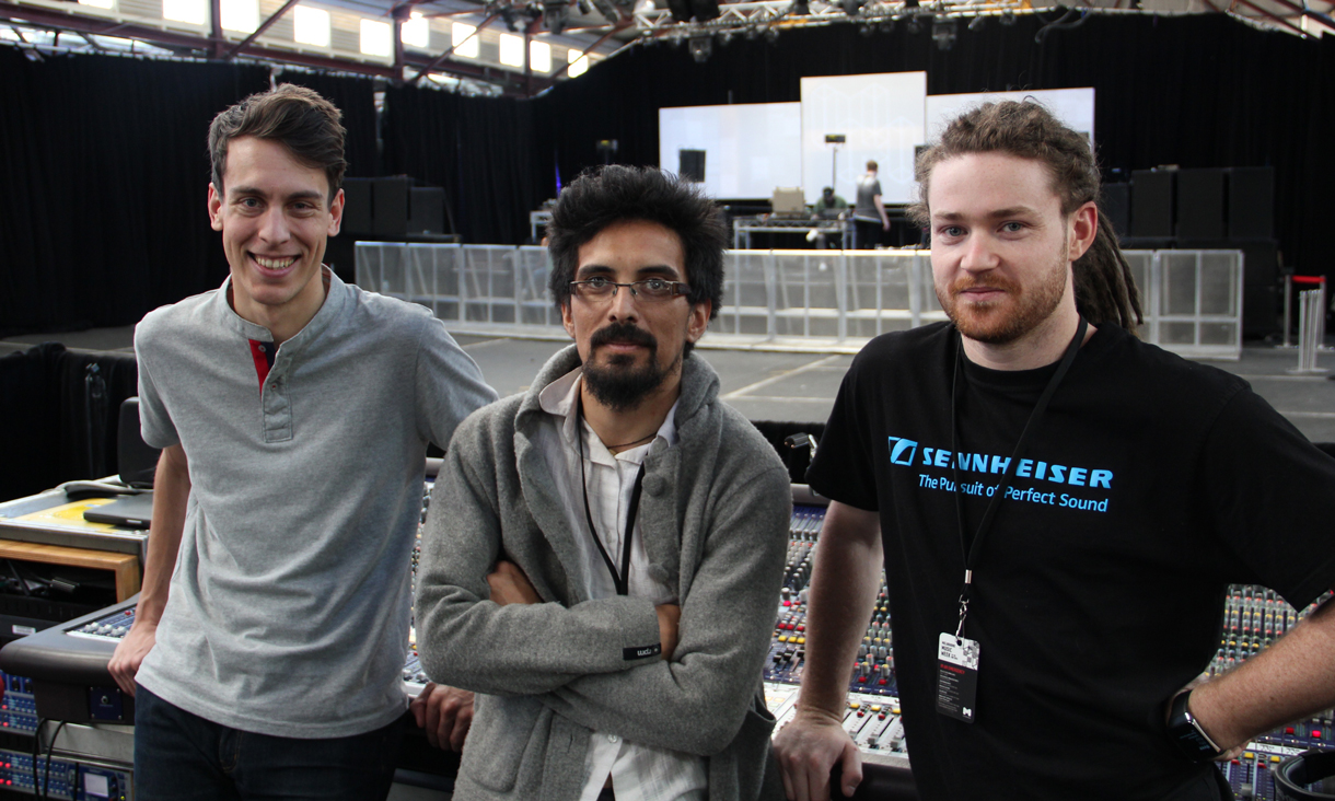Eneti Waretini (centre) with fellow Live Production and Technical Services students.