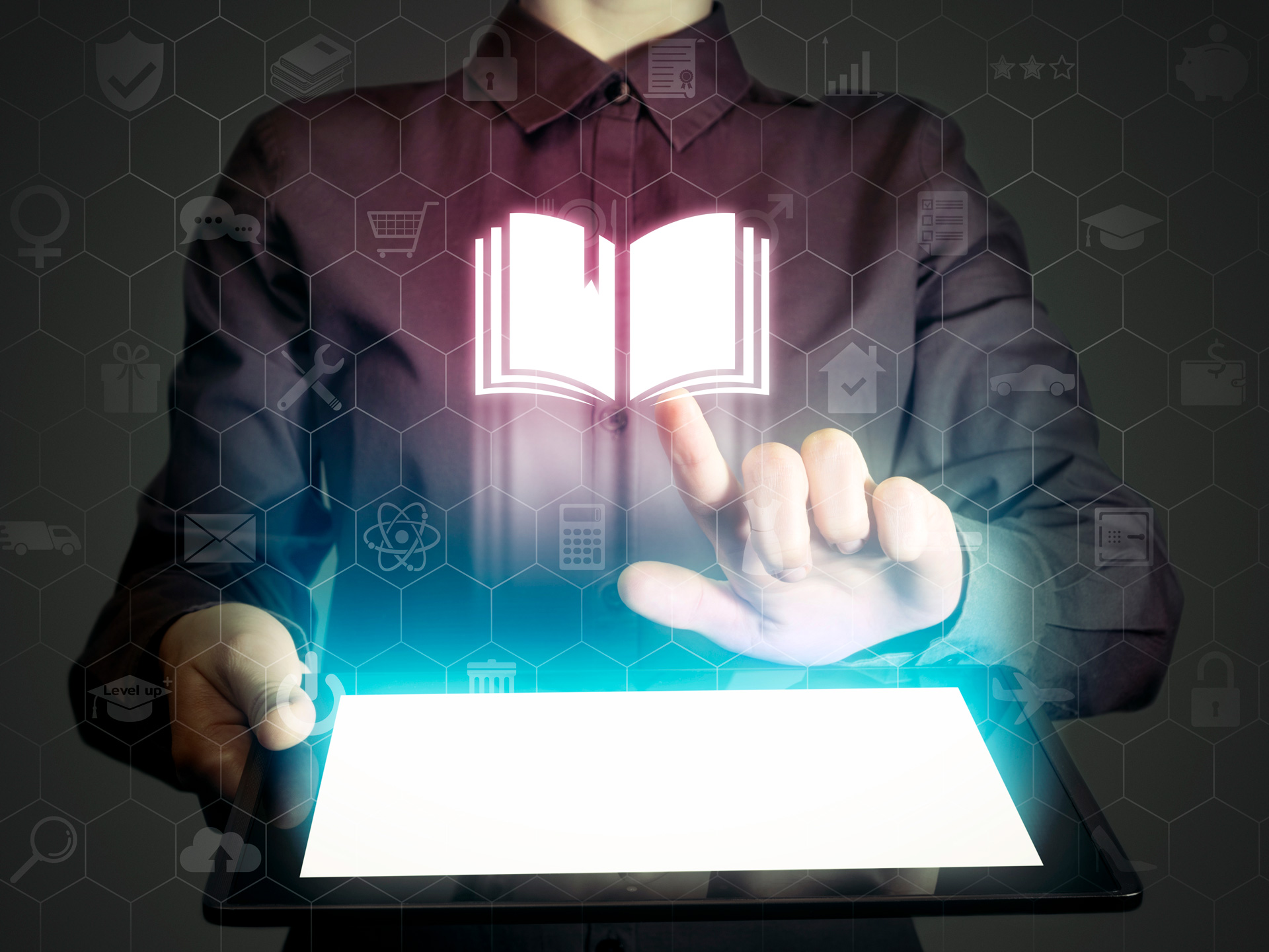 Image of person using screen which is glowing