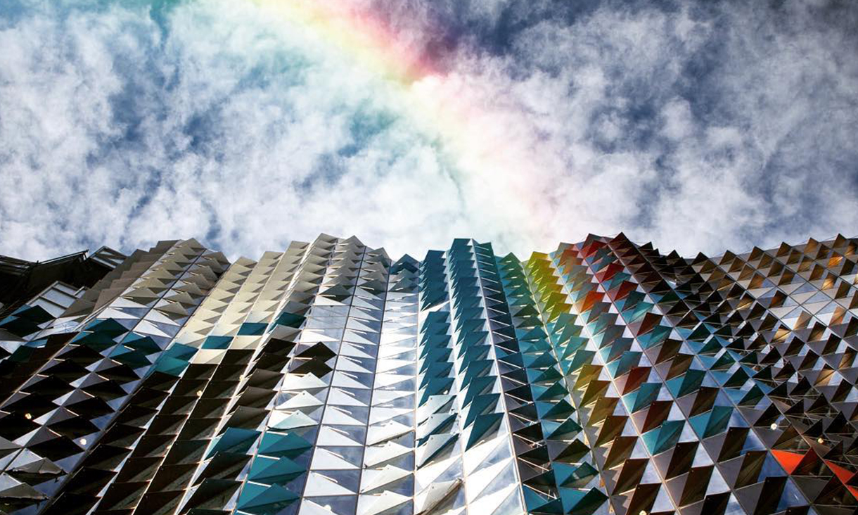 RMIT building with rainbow