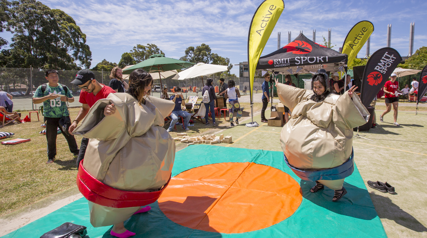 Students in sumo suits at a previous Welcome Day