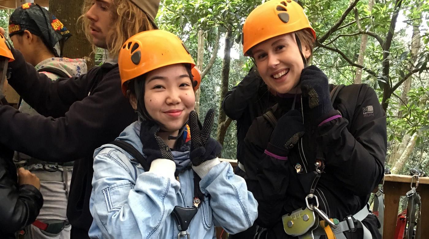 Students on a previous Tree Adventure Park tour.