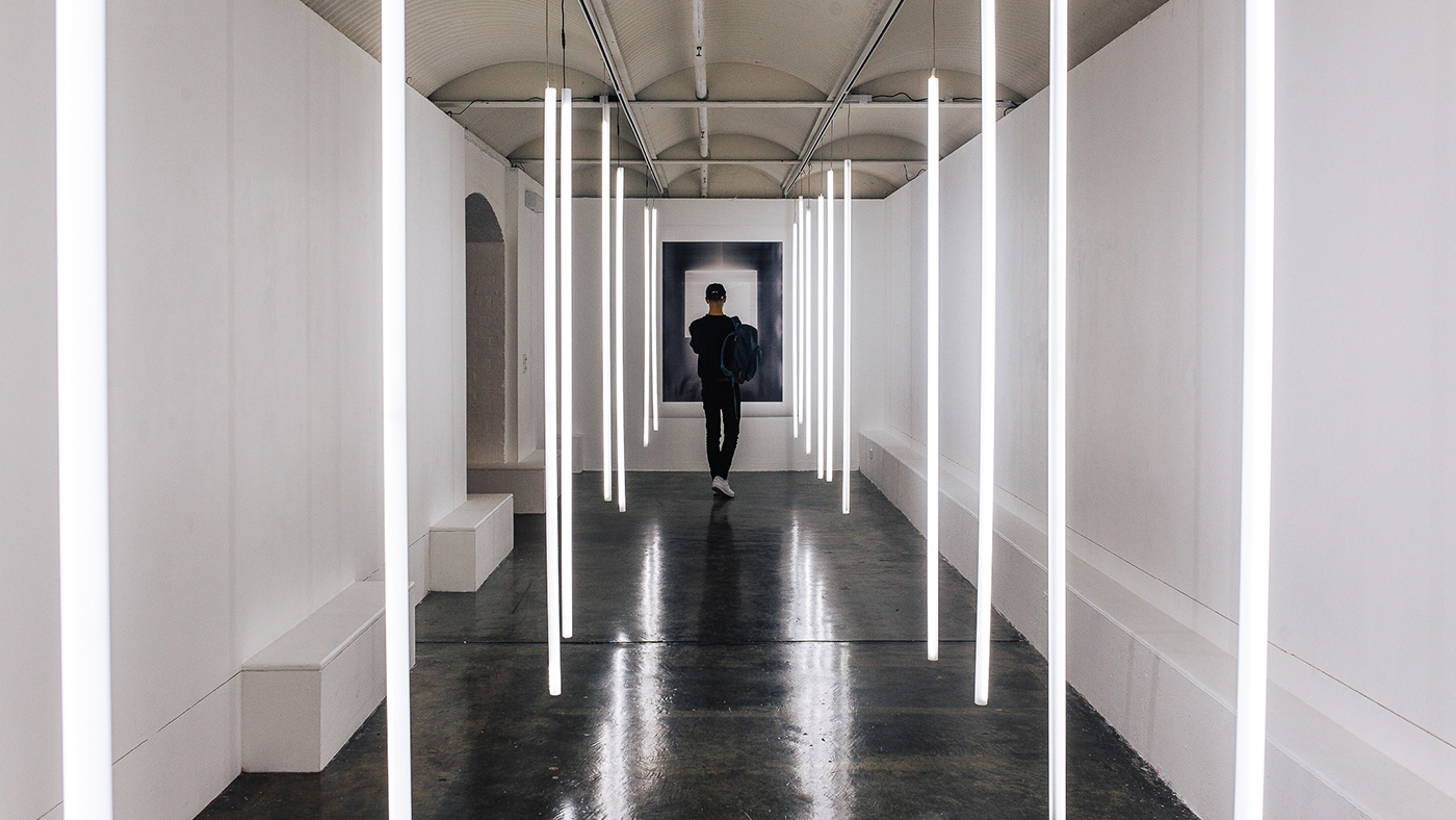 single person in gallery space